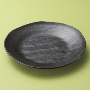 中皿 黒いぶしソギ8寸楕円皿 25cm おしゃれ 和食器 業務用 美濃焼 9d21819-408