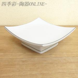天ぷら皿 渕プラチナ白釉正角高台向付 和食器 業務用 美濃焼 9d22711-148