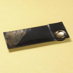 中皿 金しぶき長角皿 黒 付出皿 25.8cm 和食器 業務用 美濃焼 9d27606-468