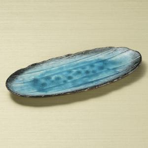 大皿 楕円皿 サンマ皿 藍染スカイ楕円長皿 33cm 和食器 業務用 美濃焼 9d28312-028
