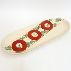 大皿 サンマ皿 赤絵椿楕円長皿 31cm 和食器 業務用 美濃焼 9d28308-578