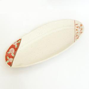 中皿 楕円皿 サンマ皿 間取赤絵楕円たたら皿 26.5cm 和食器 業務用 美濃焼 9d28512-...