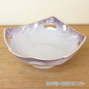 刺身鉢 紫武蔵野四方 刺身皿 和食器 業務用 美濃焼 和皿9a18-9-77g