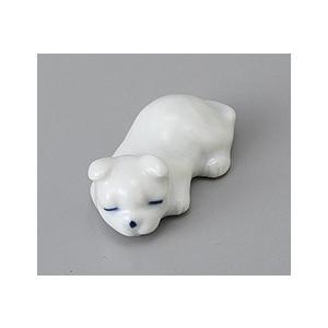 箸置き 眠り犬 白 おしゃれ 美濃焼 業務用9a431-38-8g|shikisaionline