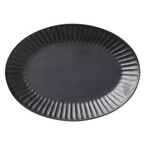 中皿 楕円皿 26.5cm ソギ十草 黒 おしゃれ 和食器 業務用 美濃焼