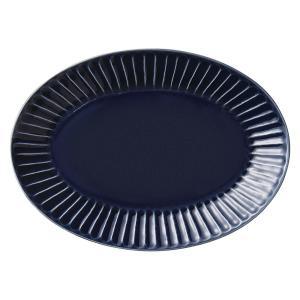 中皿 楕円皿 24cm ソギ十草 ルリ おしゃれ 和食器 業務用 美濃焼