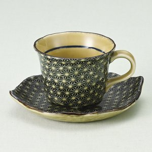 コーヒーカップソーサー 刺し子 和陶器 業務用 美濃焼 和陶器 カフェ食器|shikisaionline