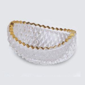 縁どりを金彩で飾り、全面に切子模様がほどこしてある舟形のガラス鉢です。お揃いの刺身皿もご用意がござい...