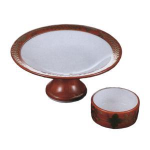 刺身皿 醤油小皿 セット 朱巻金藤 高台刺身皿 切立千代口 業務用 和食器 9b019-17-18