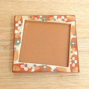小皿 鉄砂赤絵花 角皿 11cm 和食器 業務用 美濃焼 9b078-16