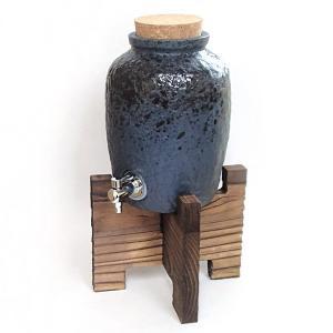 焼酎サーバー 木台付 1升 藍彩 酒器 美濃焼 業務用 6b283-05|shikisaionline