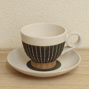 コーヒーカップソーサー ストライプ 和陶器 美濃焼 カフェ 食器 業務用 6b482-29