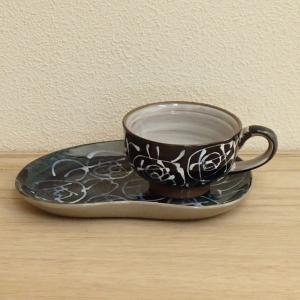 コーヒーカップソーサー 一珍花紋 黒 和陶器 美濃焼 業務用 6b483-09