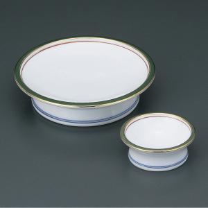 渕に金と緑色、内側には赤色のラインの入った個性的な刺身皿と醤油小皿のセットです。  【サイズ】皿:W...