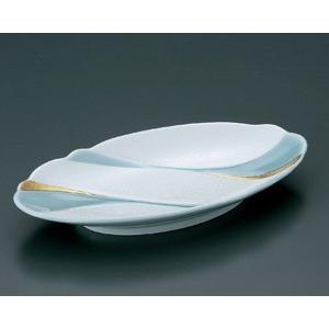 楕円皿 青磁パール金流水 焼物皿 23cm 和食器 業務用 有田焼 9d49602-718