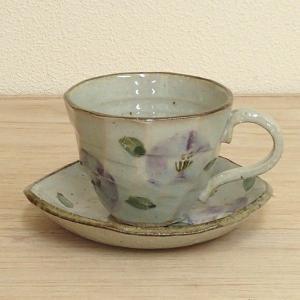 コーヒーカップ ソーサー 紫椿 和陶器 おしゃれ 業務用 美濃焼 9d73042-318 shikisaionline