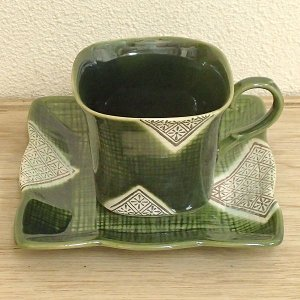 コーヒーカップ ソーサー 織部格子 和陶器 おしゃれ 業務用 美濃焼 9d73090-188|shikisaionline