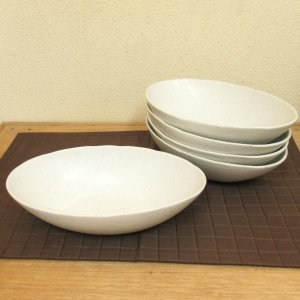 カレー皿 和食器 5個セット 深め オーバル 22.5cm 小 和食器 灰マット砂目 楕円鉢 おしゃ...