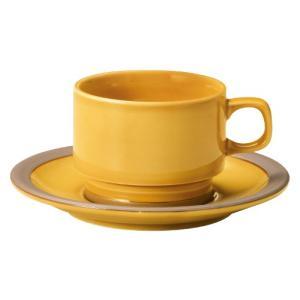 コーヒーカップ ソーサー 高台スタック ハニーアンバー カントリーサイド おしゃれ 洋食器 業務用 美濃焼 shikisaionline