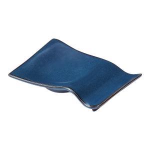 小皿付き箸置き シャドーブルー ネプチューン おしゃれ 業務用 美濃焼|shikisaionline