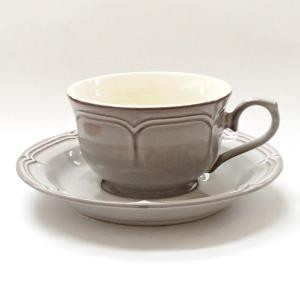 ティーカップソーサー ラフィネ スモークホワイト アンティーク調 カフェ 業務用 美濃焼|shikisaionline
