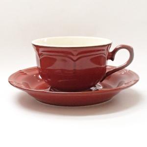 ティーカップソーサー ラフィネ ヴィンテージレッド アンティーク調 カフェ 業務用 美濃焼|shikisaionline