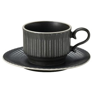 コーヒーカップ ソーサー スタック クリスタルブラック ストーリア おしゃれ 洋食器 業務用 美濃焼 shikisaionline