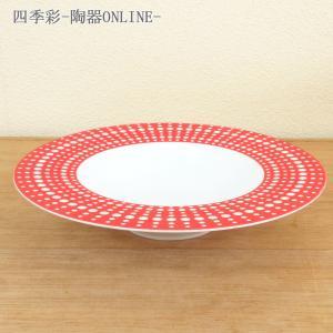 ドット模様が美しいスープ皿です。赤の気品ある丸プレートです。  サイズ:W24.1×H4.5cm 材...