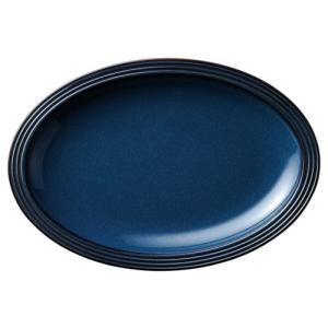 大皿 楕円皿 32cmプラター フォールズブルー ストリームライン おしゃれ 洋食器 業務用 美濃焼