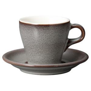 コーヒーカップソーサー 8オンス ラテカップ イラーレ ストームグレー 業務用 カフェ食器|shikisaionline