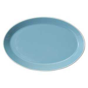 中皿 楕円皿 25cmオーバルプラター ターコイズブルー パシオン おしゃれ 業務用 カフェ食器 美...