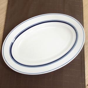 中皿 26.5cmプラター 楕円皿 ネイビーブルー カントリーサイド おしゃれ 洋食器 業務用 美濃...