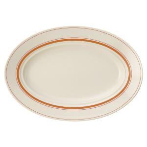 大皿 楕円皿 32.5cmプラター ソーバーオレンジ おしゃれ 洋食器 業務用 美濃焼 k13425...