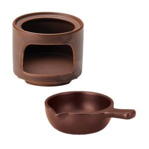 チーズフォンデュ ウォーマー 大 片手鍋セット ブラウン 固形燃料対応 k19960065-1996...