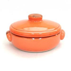 キャセロール 17.5cm 直火対応 オレンジ 陶器 両手鍋 美濃焼|shikisaionline
