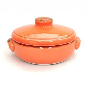 キャセロール 14.5cm 直火対応 オレンジ 陶器 両手鍋 美濃焼|shikisaionline