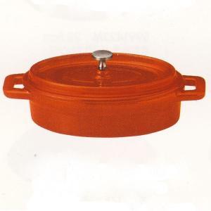 鉄製ココット鍋 楕円 オレンジ 21.5cm 鋳鉄鍋 チーズフォンデュ IH対応 直火対応 ks99...