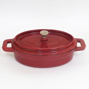 鉄製ココット鍋 楕円 レッド 19cm 鋳鉄鍋 チーズフォンデュ IH対応 直火対応 ks99580...