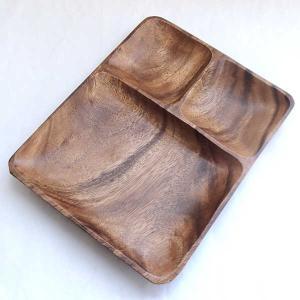 ランチプレート 木製 アカシアプレート 25.5cm 3つ仕切り皿 kt1927074