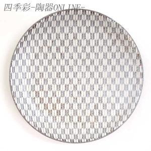中皿 19cm丸皿 矢絣 古代粉引 和柄 おしゃれ 和食器 業務用 美濃焼|shikisaionline