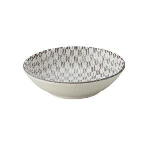 小鉢 13.5cm浅ボウル 矢絣 古代粉引 和食器 美濃焼 業務用|shikisaionline