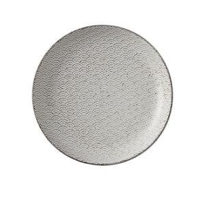 中皿 19cm丸皿 青海波 古代粉引 和柄 おしゃれ 和食器 業務用 美濃焼|shikisaionline