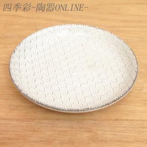 中皿 15cm丸皿 青海波 古代粉引 和食器 美濃焼 業務用|shikisaionline