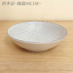 小鉢 13.5cm浅ボウル 青海波 古代粉引 和食器 美濃焼 業務用|shikisaionline