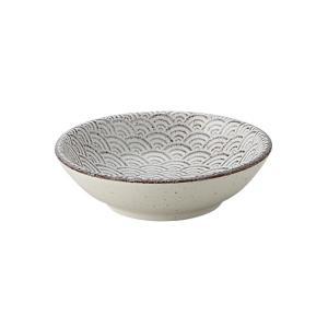 小鉢 9.5cm浅ボウル 青海波 古代粉引 和食器 美濃焼 業務用|shikisaionline