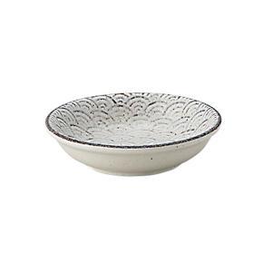 小鉢 8cm浅ボウル 青海波 古代粉引 和食器 美濃焼 業務用|shikisaionline