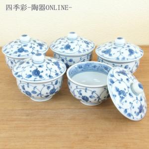 蓋付き湯呑み茶碗 5客セット バラの舞 湯飲み 湯呑み 業務用 有田焼 9a562-6-93g-5s|shikisaionline