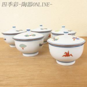 蓋付き湯呑み茶碗 5客セット 宝づくし 湯飲み 湯呑み 業務用 有田焼 9a562-4-93g-5s|shikisaionline