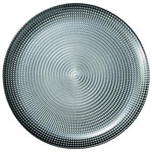 27cm ガラスプレート シルバー ラウンドプレート Eclatエクラ 洋食器 ガラス 業務用