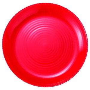 19cm ガラスプレート レッド ラウンドプレート Eclatエクラ 洋食器 ガラス 業務用